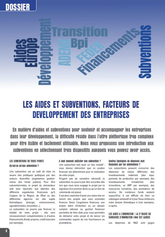 Dossier thématique : Les aides et subventions, facteurs de développement des entreprises